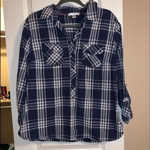 3/4 navy and white flannel